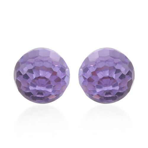 New Season - J Francis Crystal from Swarovski - Violet Crystal Ball Stud Earrings (with Push Back) in Sterling Silver
