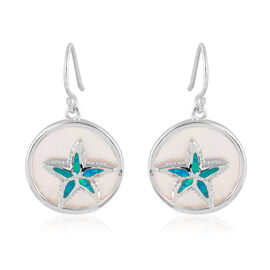 New Concept - White Mother of Pearl (Rnd), Simulated Blue Opal Hook Earrings in Rhodium Overlay Ster