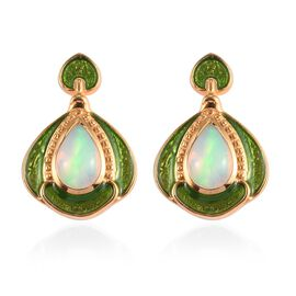 Ethiopian Welo Opal Enamelled Dangle Earrings (with Push Back) in 14K Gold Overlay Sterling Silver 1