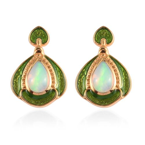 Ethiopian Welo Opal Enamelled Dangle Earrings (with Push Back) in 14K Gold Overlay Sterling Silver 1