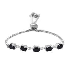 Boi Ploi Black Spinel (Ovl) Bolo Bracelet (Size 6.5-8) in Sterling Silver and Steel 2.850 Ct.