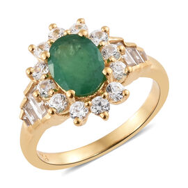 2.35 Ct AA Zambian Emerald and Cambodian Zircon Halo Ring in Gold Plated Sterling Silver