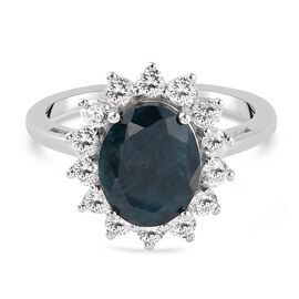 Teal Grandidierite and Natural Cambodian Zircon Ring in Platinum Overlay Sterling Silver 3.720 Ct.
