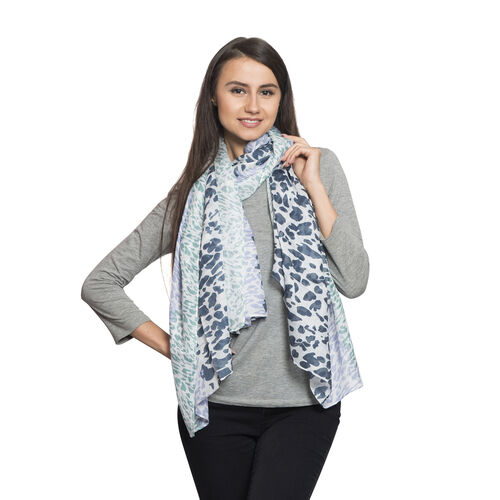Italian Close Out Deal - Blue, Purple and Green Colour Leopard Pattern White Colour Scarf (Size 180x100 Cm)