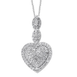 Diamond (Rnd) Heart Pendant With Chain in Platinum Overlay Sterling Silver, Number Of Diamond 110