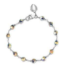 J Francis - Crystal from Swarovski - Aurore Borealis Crystal Sterling Silver Bracelet (Size 7.5)