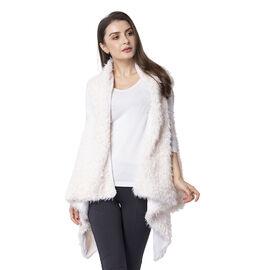 Designer Inspired-White Colour Faux Fur Gilet (Size 155x75 Cm)