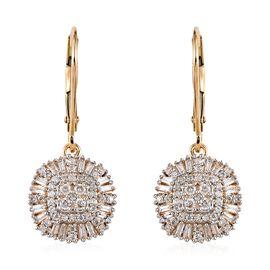 9K Yellow Gold SGL Certified Diamond (G-H/I3) Lever Back Earrings 0.55 Ct.