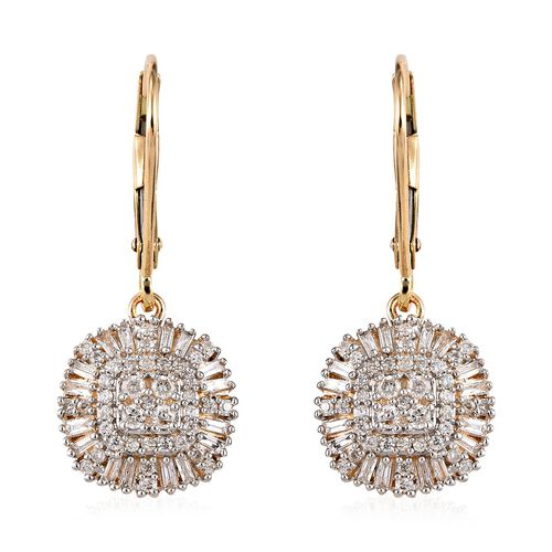 9K Yellow Gold SGL Certified Diamond (G-H/I3) Lever Back Earrings 0.55 Ct.
