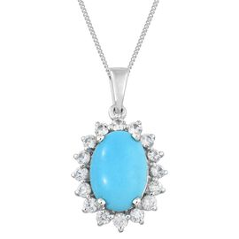Arizona Sleeping Beauty Turquoise (Ovl 4.25 Ct), Natural Cambodian Zircon Pendant with Chain in Platinum Overlay Sterling Silver 5.750 Ct.