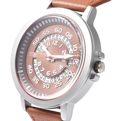 STRADA Japanese Movement Water Resistance Watch with Date in Stainless Steel - Camel