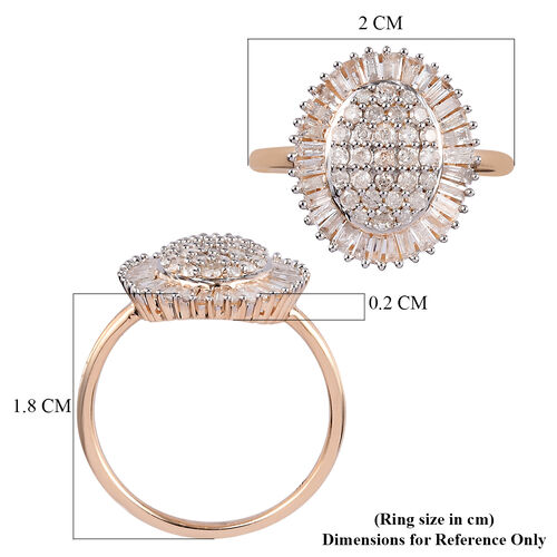 9K Yellow Gold SGL Certified Diamond (I3/G-H) Cluster Ring 1.00 Ct.