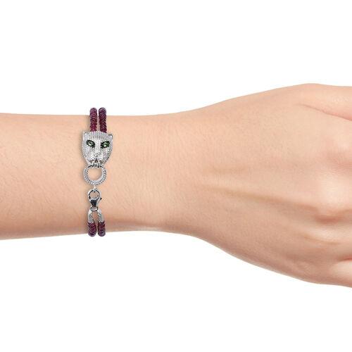 African Ruby (Rnd),Tsavorite Garnet Panther Bracelet (Size 7.5)  in Platinum Overlay Sterling Silver 57.080 Ct.