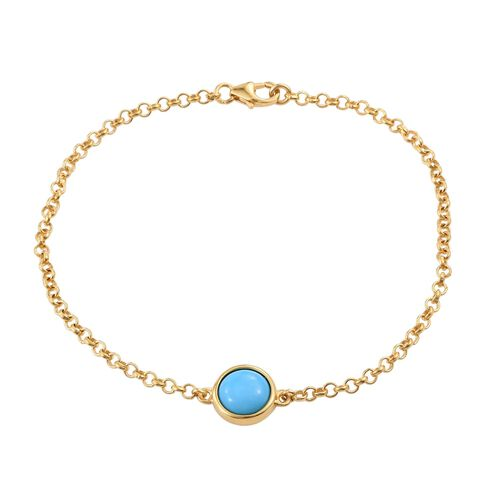 Arizona Sleeping Beauty Turquoise (Rnd) Bracelet (Size 7.5) in 14K Gold Overlay Sterling Silver 1.500 Ct.