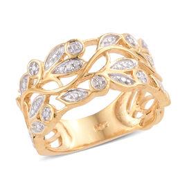Designer Inspired- Diamond (Rnd) Leaves Ring (Size L) in 14K Gold Overlay Sterling Silver, Silver wt 3.91 Gms