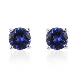 Value Buy - RHAPSODY 950 Platinum AAAA Tanzanite Stud Earrings (with Push Back) 1.00 Ct.