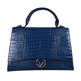 19V69 ITALIA by Alessandro Versace Crocodile Pattern Satchel Bag with Detachable Stap and Metallic Clasp Closure (Size 35x23.5x13cm) - Blue