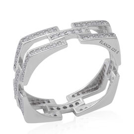 ELANZA Simulated Diamond Link Sqaure Ring in Rhodium Overlay Sterling Silver