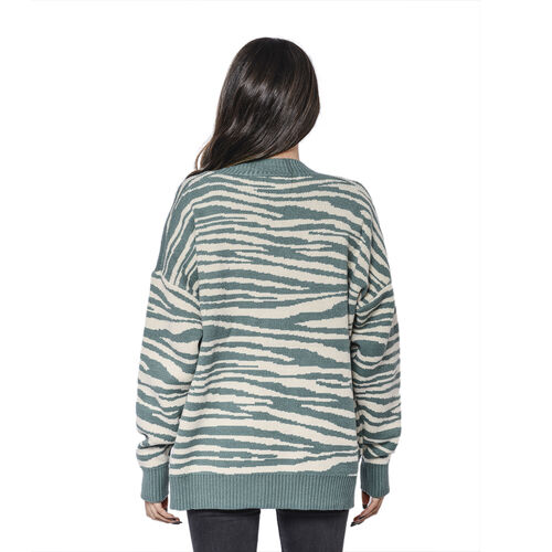 LA MAREY Green Zebra Pattern Button-Closure Cardigan with Two Pockets