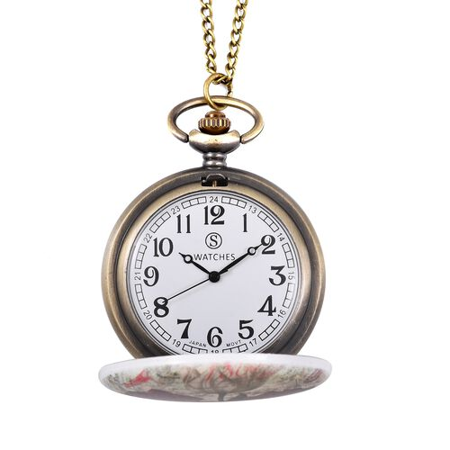 STRADA Japanese Movement Water Resistant Red and White Flower Pattern Pocket Watch with Chain
