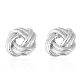 Designer Inspired- Rhodium Overlay Sterling Silver Knot Earrings (with Push Back), Silver wt 3.24 Gm