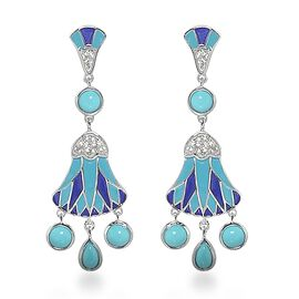 2.10 Ct Arizona Sleeping Beauty Turquoise and Zircon Dangle Earrings in Platinum Plated Silver