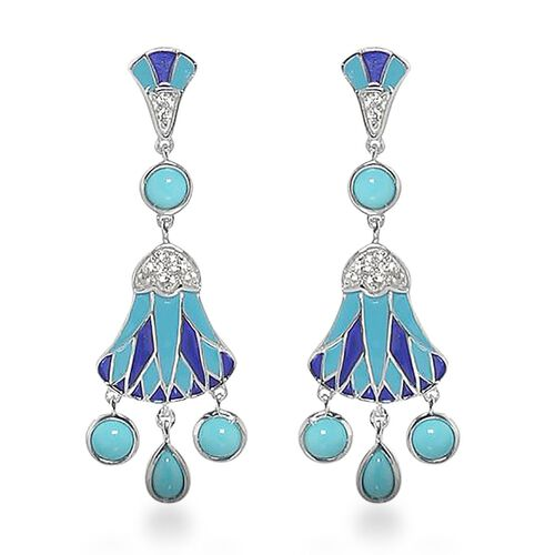 2.10 Ct Arizona Sleeping Beauty Turquoise and Zircon Dangle Earrings in Platinum Plated Silver