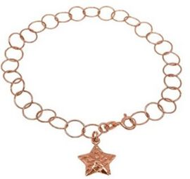New York Close Out Rose Gold overlay Sterling Silver Round Link Bracelet (Size 7.5) with Star Charm