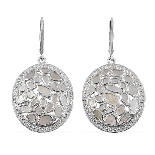 Artisan Crafted Polki Diamond Earrings in Sterling Silver 1.50 Ct, Silver wt 5.65 Gms