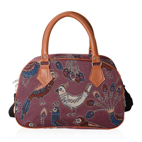 Jacquard Light Weight Peacock Pattern Tote Bag with Removable Shoulder Strap (Size 35x23x13.5 Cm)