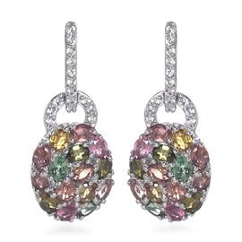 AA Rainbow Tourmaline (Ovl and Rnd), Natural Cambodian Zircon Earrings (with Push Back) in Platinum