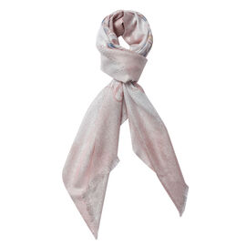 Art Pattern Scarf with Silver Wire (Size 100x100 Cm) - Peach, White and Multi