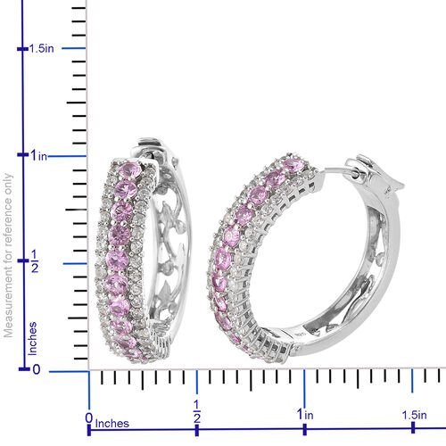 Pink Sapphire (Rnd), Natural Cambodian Zircon Hoop Earrings (with Clasp) in Platinum Overlay Sterling Silver 4.00 Ct, Silver wt 10.25 Gms, Number of Gemstone 104