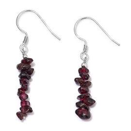 Rhodolite Garnet Beads Hook Earrings in Platinum Overlay Sterling Silver  10.00 Ct.