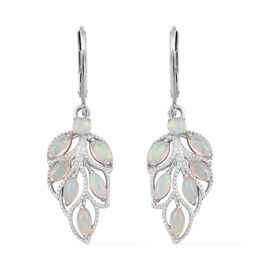 1.25 Carat Ethiopian Opal Leaf Drop Earrings in Platinum Plated Sterling Silver With Lever Back
