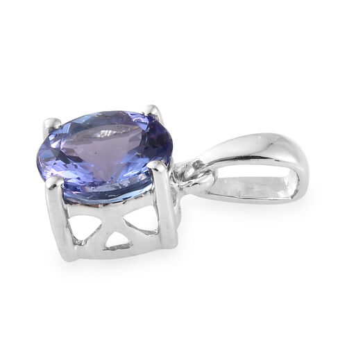 9K White Gold AA Tanzanite (Rnd) Pendant 0.900 Ct.
