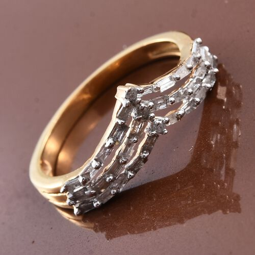 Diamond (Rnd) Triple Row Chevron Ring in 14K Gold Overlay Sterling Silver 0.500 Ct.