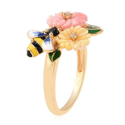Jardin Collection - Pink Mother of Pearl, Yellow Mother of Pearl and Multi Gemstone Bee Flower Enamelled Ring in Yellow Gold Overlay Sterling Silver