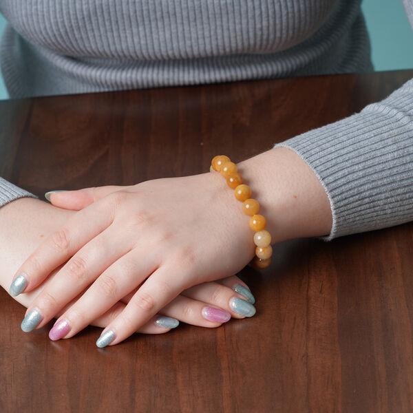 Yellow Quartzite Beads Stretchable Bracelet (Size 6.5) 152.50 Ct.