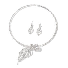 Set of 2 - White Austrian Crystal (Rnd) Choker Necklace (Size 18) and  Earrings in Silver Tone