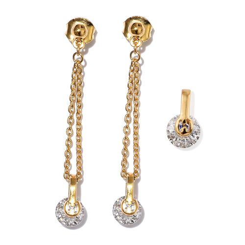 J Francis - 14K Gold Overlay Sterling Silver (Rnd) Solitaire Pendant and Dangle Earrings (with Push Back) Made with SWAROVSKI ZIRCONIA