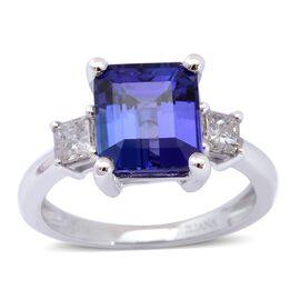 ILIANA 18K White Gold AAA Tanzanite (Oct 2.75 Ct), Diamond (SI/G-H) Ring 3.000 Ct.
