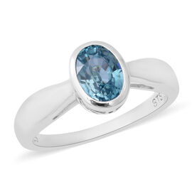 2 Ct Blue Zircon Solitaire Ring in Rhodium Plated Sterling Silver