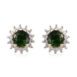 9K Yellow Gold AA Russian Diopside (Rnd), Natural Cambodian White Zircon Stud Earrings (with Push Ba