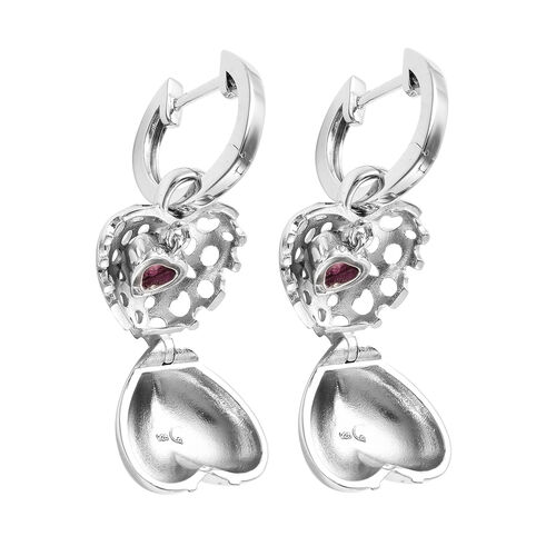 RACHEL GALLEY Angel Heart Collection - African Ruby Lattice Heart Charm Hoop Earrings (with French Clip) in Rhodium Overlay Sterling Silver