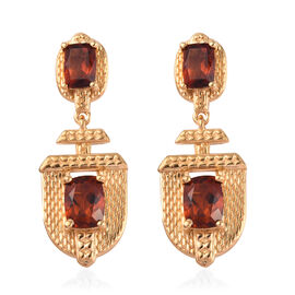 Cherry Citrine Earrings (with Push Back) in 14K Gold Overlay Sterling Silver 4.50 Ct, Silver wt 7.68