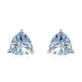 Aquamarine Dangling Earring in Platinum Overlay Sterling Silver 1.25 ct  1.250  Ct.