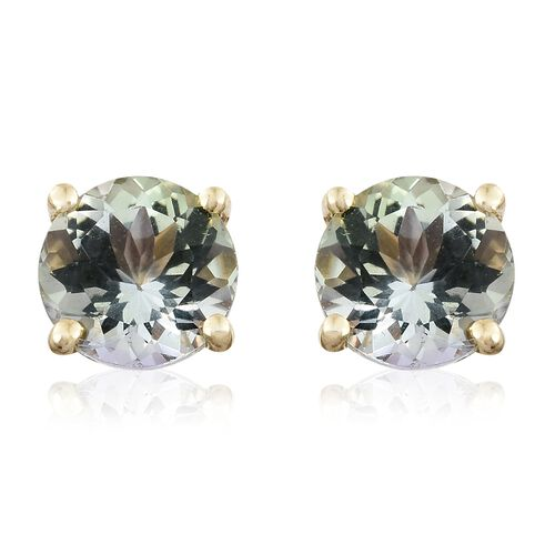 1 Carat AA Natural Green Tanzanite Stud Earrings in 9K Gold (with Push Back)