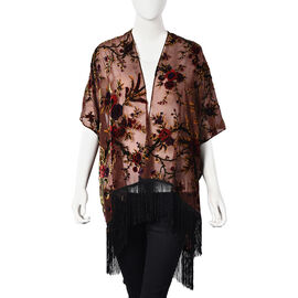 Brown Colour Floral Pattern Kimono with Long Tassels (Free Size; L-66 Cm)