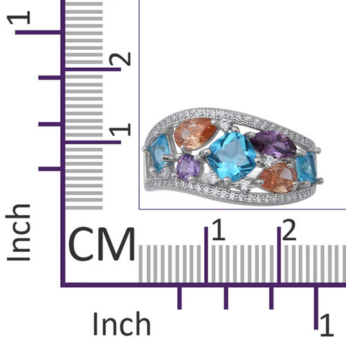 ELANZA Simulated Diamond (Rnd), Simulated Multi Colour Gemstone Ring in Rhodium Overlay Sterling Silver